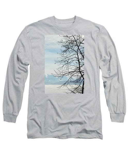 Winter Tree And Alps Mountains Upon The Fog Long Sleeve T-Shirt by Elenarts - Elena Duvernay photo