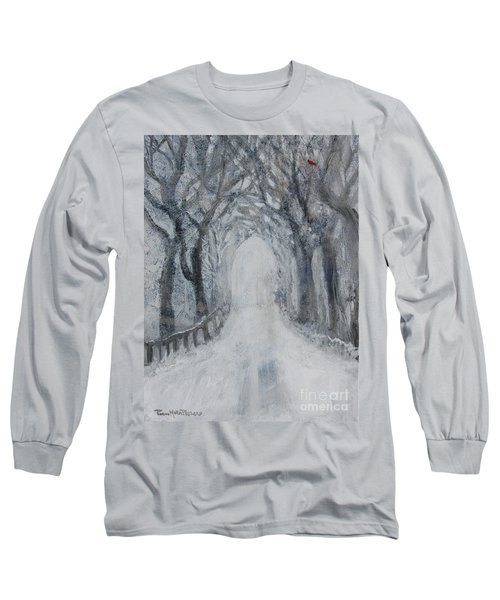 Long Sleeve T-Shirt featuring the painting Winter Tree Tunnel by Robin Maria Pedrero