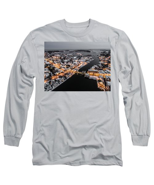 Winter Twilight In Mystic Connecticut Long Sleeve T-Shirt
