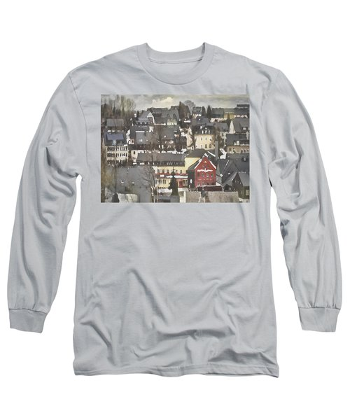 Winter Village With Red House Long Sleeve T-Shirt