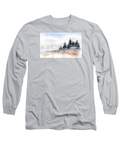 Winter Watercolor Painting Long Sleeve T-Shirt