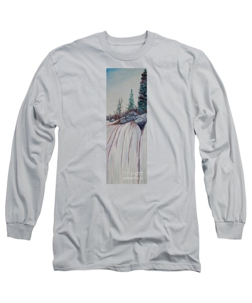 Long Sleeve T-Shirt featuring the painting Winter Waterfall by Marilyn  McNish