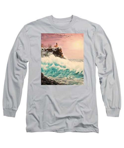 Wintery Northern Lighthouse  Long Sleeve T-Shirt