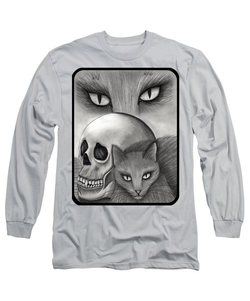 Long Sleeve T-Shirt featuring the drawing Witch's Cat Eyes by Carrie Hawks