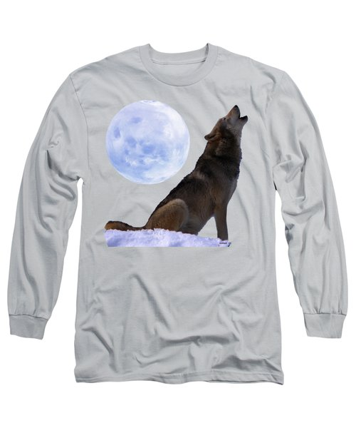 Wolf Howling Long Sleeve T-Shirt by EricaMaxine  Price