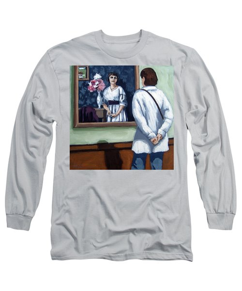 Woman At Art Museum Figurative Painting Long Sleeve T-Shirt
