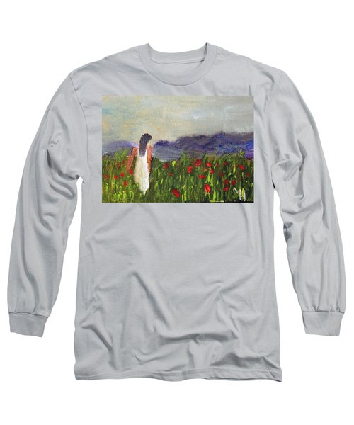 Woman In White Long Sleeve T-Shirt