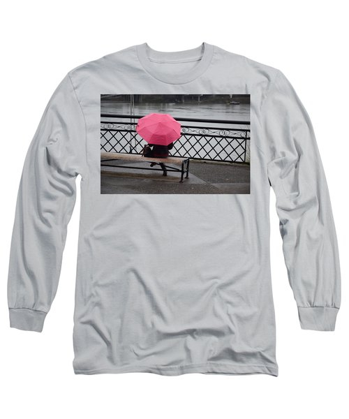 Woman With Pink Umbrella. Long Sleeve T-Shirt