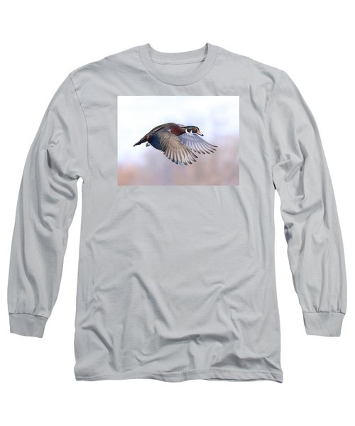 Wood Duck In Flight Long Sleeve T-Shirt by Lynn Hopwood