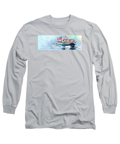 Long Sleeve T-Shirt featuring the painting Wooden Boat Blues by LeAnne Sowa