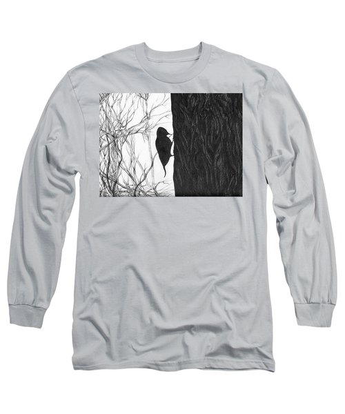 Long Sleeve T-Shirt featuring the drawing Woodpecker by Anna  Duyunova