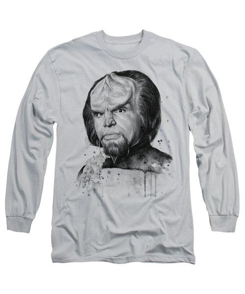 Worf Portrait Watercolor Star Trek Art Long Sleeve T-Shirt by Olga Shvartsur