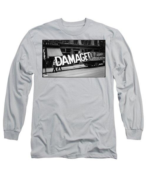 Workmen Hauling Damaged Sign Walker Evans Photo New York City 1930 Color Added 2008 Long Sleeve T-Shirt
