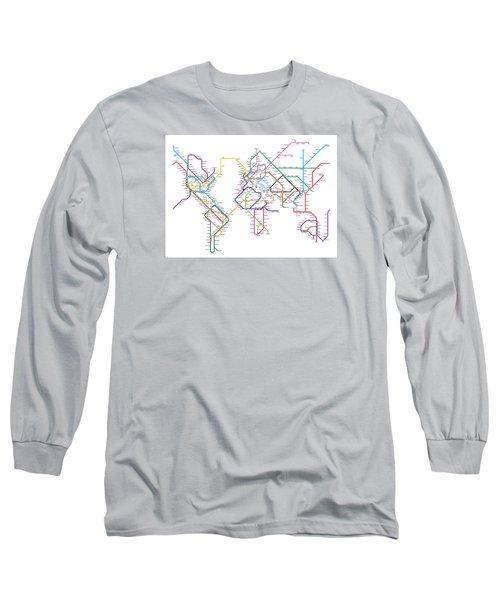 World Metro Tube Map Long Sleeve T-Shirt by Michael Tompsett