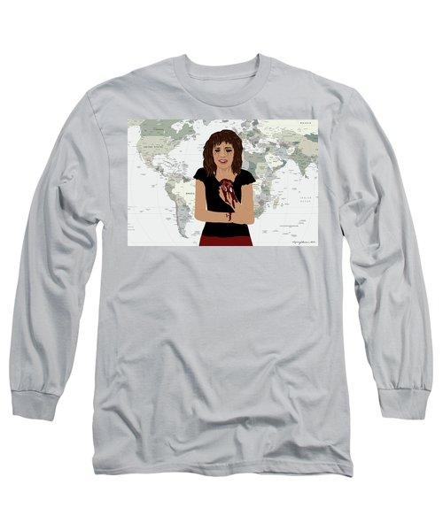 Long Sleeve T-Shirt featuring the digital art World Pain by Nancy Levan