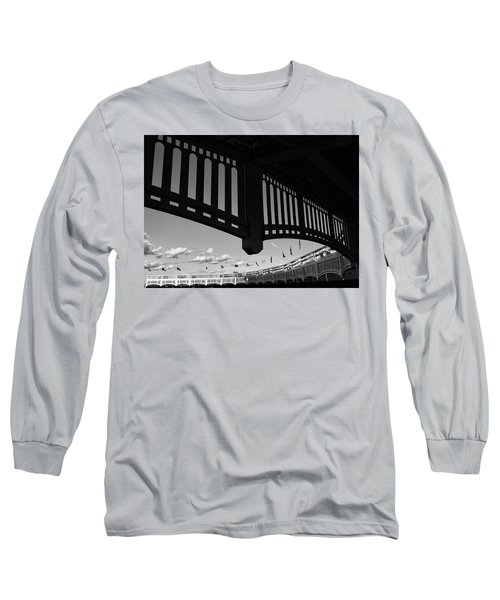 Yankee Stadium Facade - B And W Long Sleeve T-Shirt