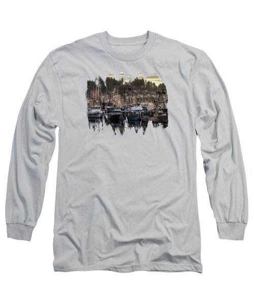 Long Sleeve T-Shirt featuring the photograph Yaquina Bay Boat Basin At Dawn by Thom Zehrfeld