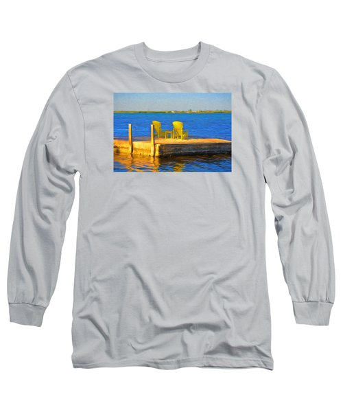 Yellow Adirondack Chairs On Dock In Florida Keys Long Sleeve T-Shirt