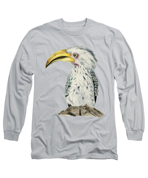 Yellow-billed Hornbill Watercolor Painting Long Sleeve T-Shirt