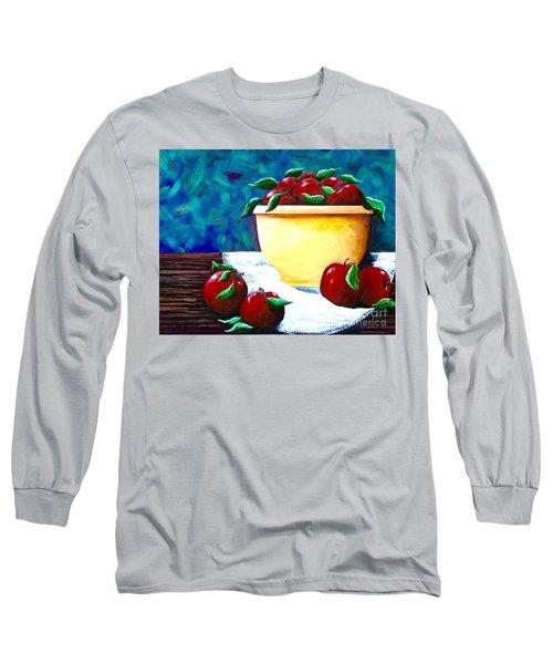 Yellow Bowl Of Apples Long Sleeve T-Shirt by Jennifer Lake
