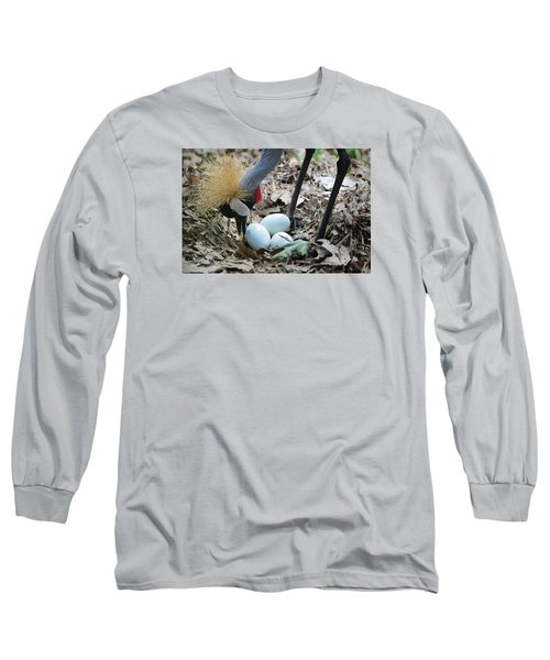 Yellow Crowned Crane Tending To Her Eggs Long Sleeve T-Shirt