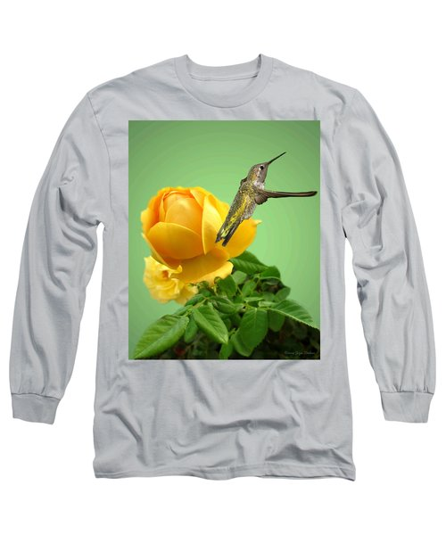 Yellow Rose And Hummingbird 2 Long Sleeve T-Shirt