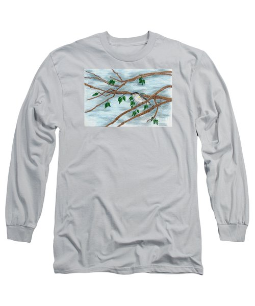 Long Sleeve T-Shirt featuring the drawing Yellow Rumped Warbler by Terri Mills