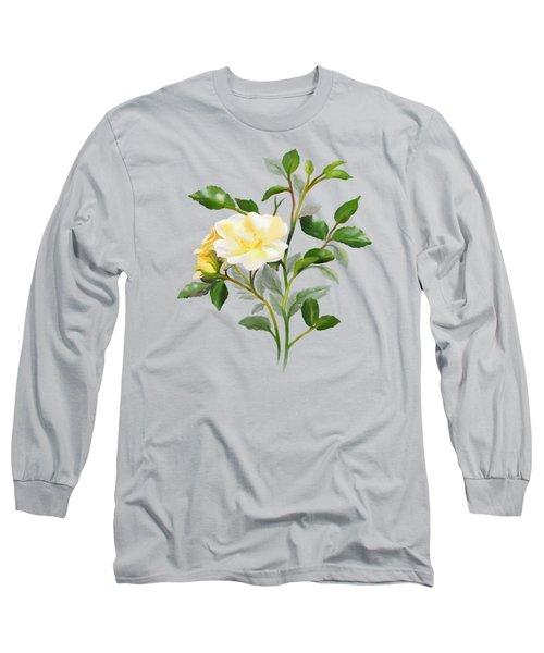 Yellow Watercolor Rose Long Sleeve T-Shirt