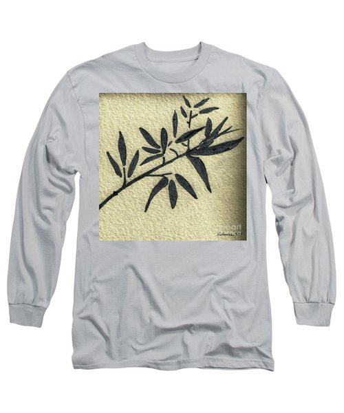 Zen Sumi Antique Botanical 4a Ink On Fine Art Watercolor Paper By Ricardos Long Sleeve T-Shirt