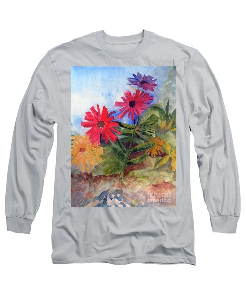 Zinnias In The Garden Long Sleeve T-Shirt