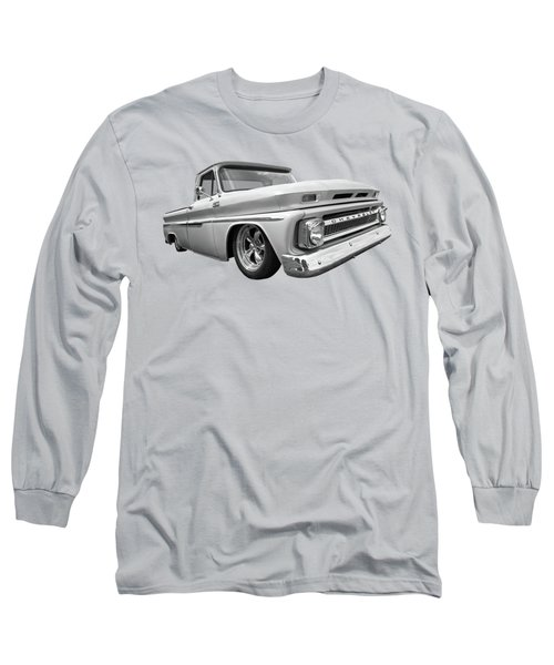 1965 Chevy C10 Truck In Black And White Long Sleeve T-Shirt