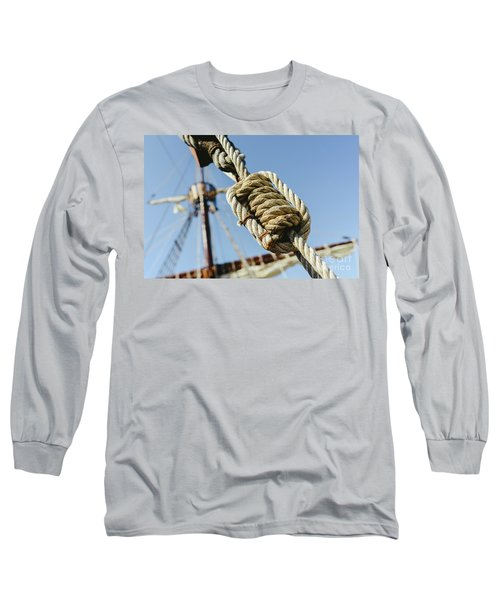 Rigging And Ropes On An Old Sailing Ship To Sail In Summer. Long Sleeve T-Shirt