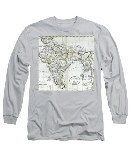 Antique Map Of India   Long Sleeve T-Shirt
