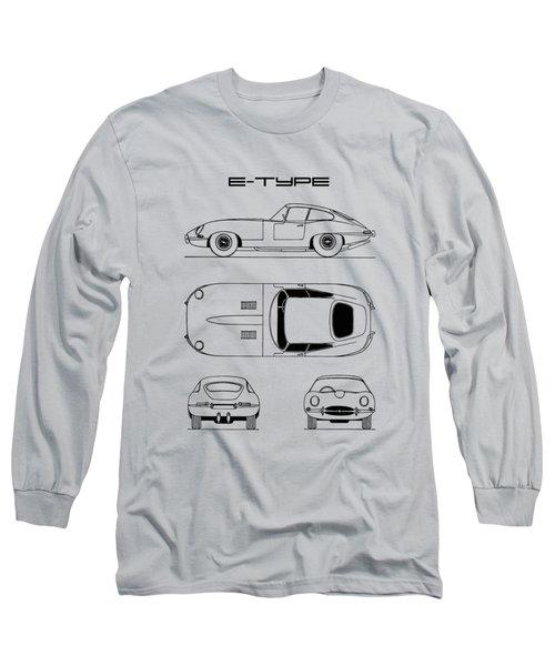Jaguar E Type Blueprint Design Long Sleeve T-Shirt
