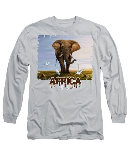 Elephant And Cattle Egrets Long Sleeve T-Shirt