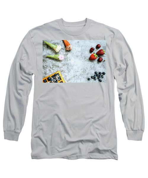 Background Of Tasty And Sweet Foods With Red Fruits And Waffles, Long Sleeve T-Shirt
