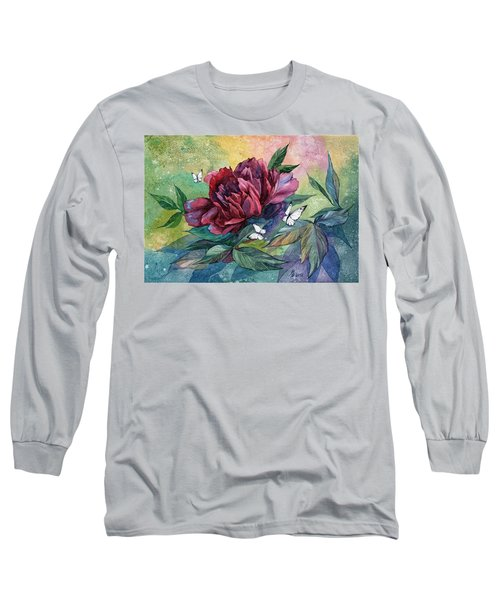 Black Peony Flower And Butterflies Long Sleeve T-Shirt