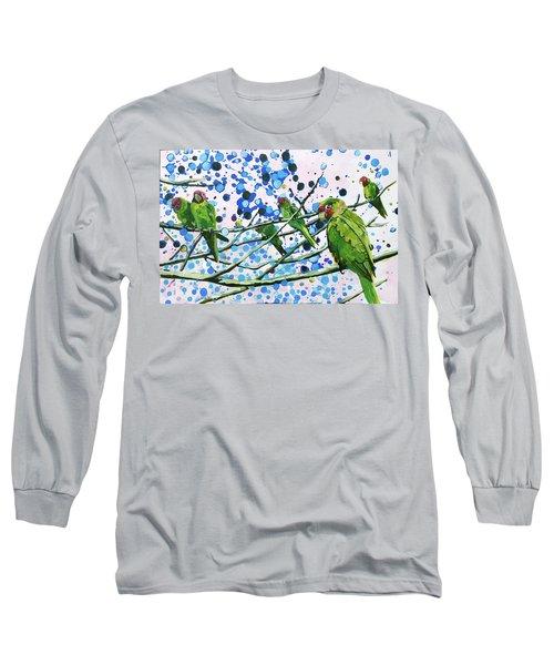 Blue Dot Parakeets Long Sleeve T-Shirt