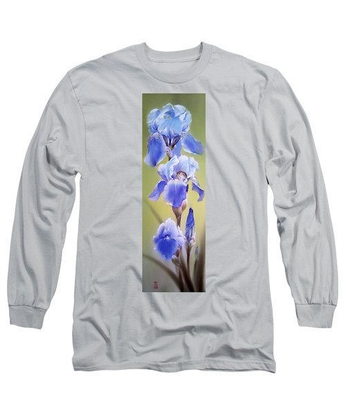 Blue Irises With Sleeping Baby Mouse Long Sleeve T-Shirt