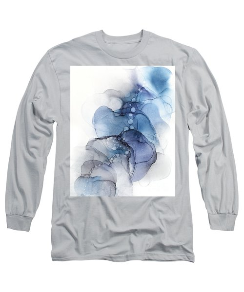 Blue Petal Dots Whispy Abstract Painting Long Sleeve T-Shirt