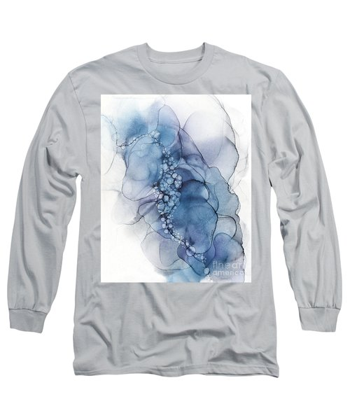 Blue Whispy 2 Abstract Painting Long Sleeve T-Shirt