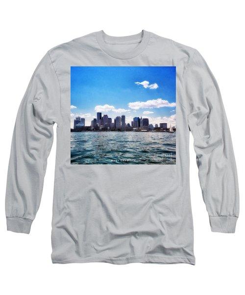 Boston Skyline From Boston Harbor  Long Sleeve T-Shirt
