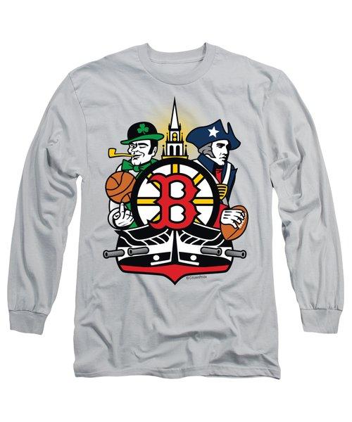 Boston Sports Fan Crest Long Sleeve T-Shirt