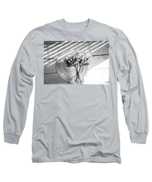 Bouquet And Plate-bw Long Sleeve T-Shirt