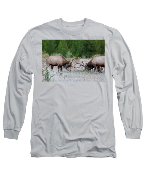 Bull Elk Battle Rocky Mountain National Park Long Sleeve T-Shirt