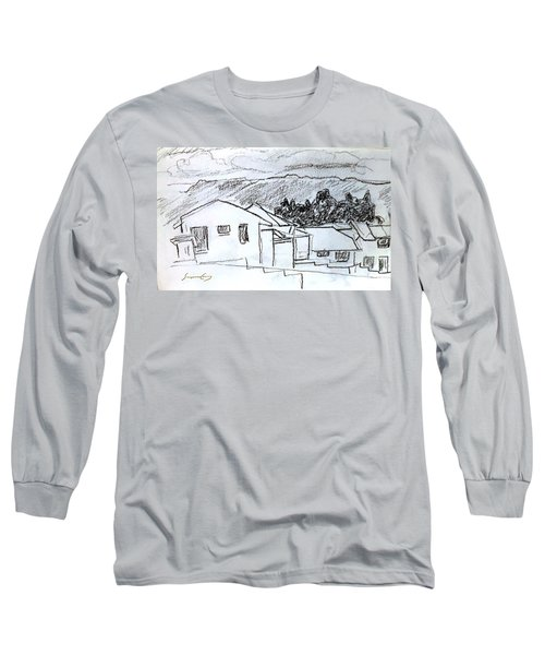Charcoal Pencil Houses.jpg Long Sleeve T-Shirt