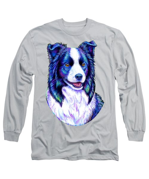 Colorful Border Collie Dog Long Sleeve T-Shirt