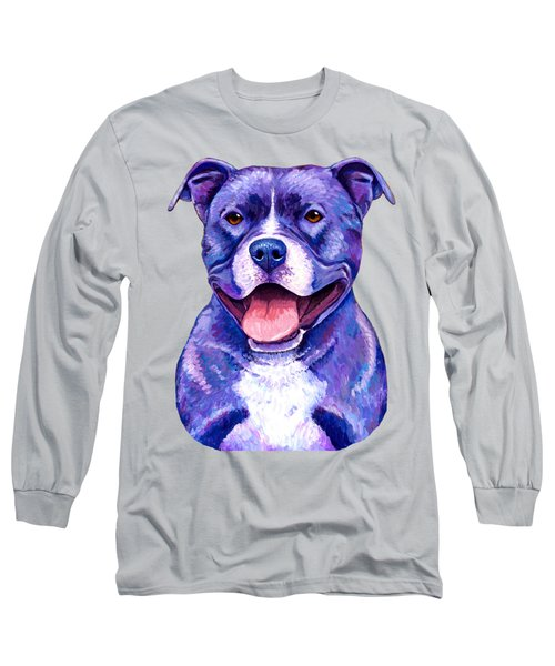 Colorful Pitbull Terrier Dog Long Sleeve T-Shirt