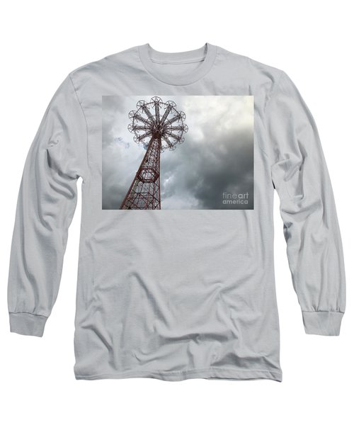 Coney Island Parachute Jump And Storm Clouds Long Sleeve T-Shirt