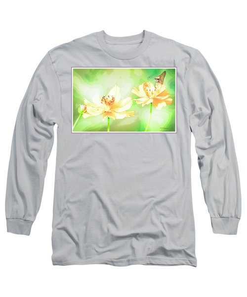Cosmos Flowers, Bud, Butterfly, Digital Painting Long Sleeve T-Shirt